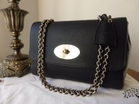 Mulberry Medium Lily in Black Soft Grain Leather with Shiny Pale Gold Hardware