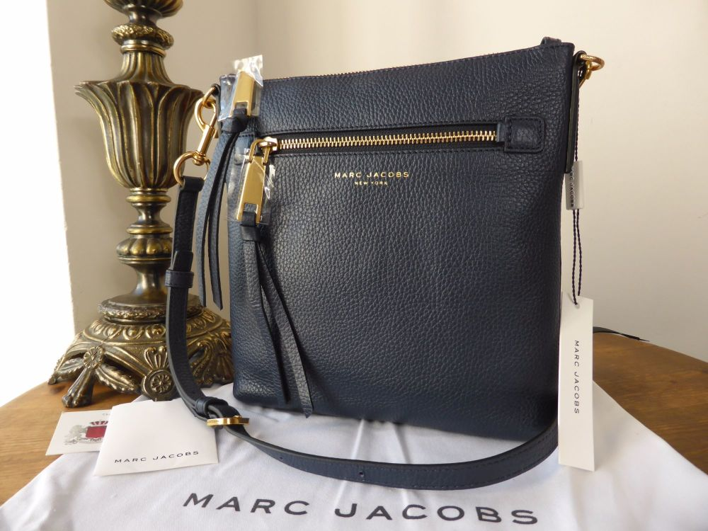 Marc Jacobs 'Recruit' North South Messenger Bag in Midnight Blue Pebbled Le