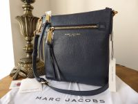Marc Jacobs 'Recruit' North South Messenger Bag in Midnight Blue Pebbled Leather - New