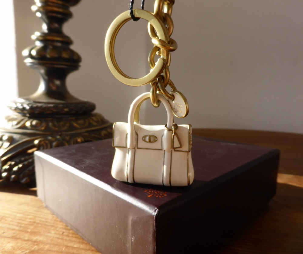 Mulberry Mini Bayswater Keyring Charm in White Enamel & Gold - New