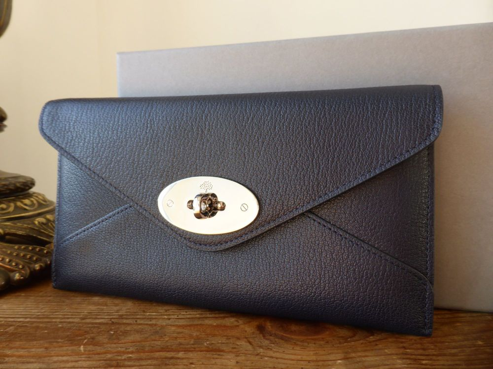 Mulberry Continental Envelope Wallet in Midnight Shiny Goat Leather