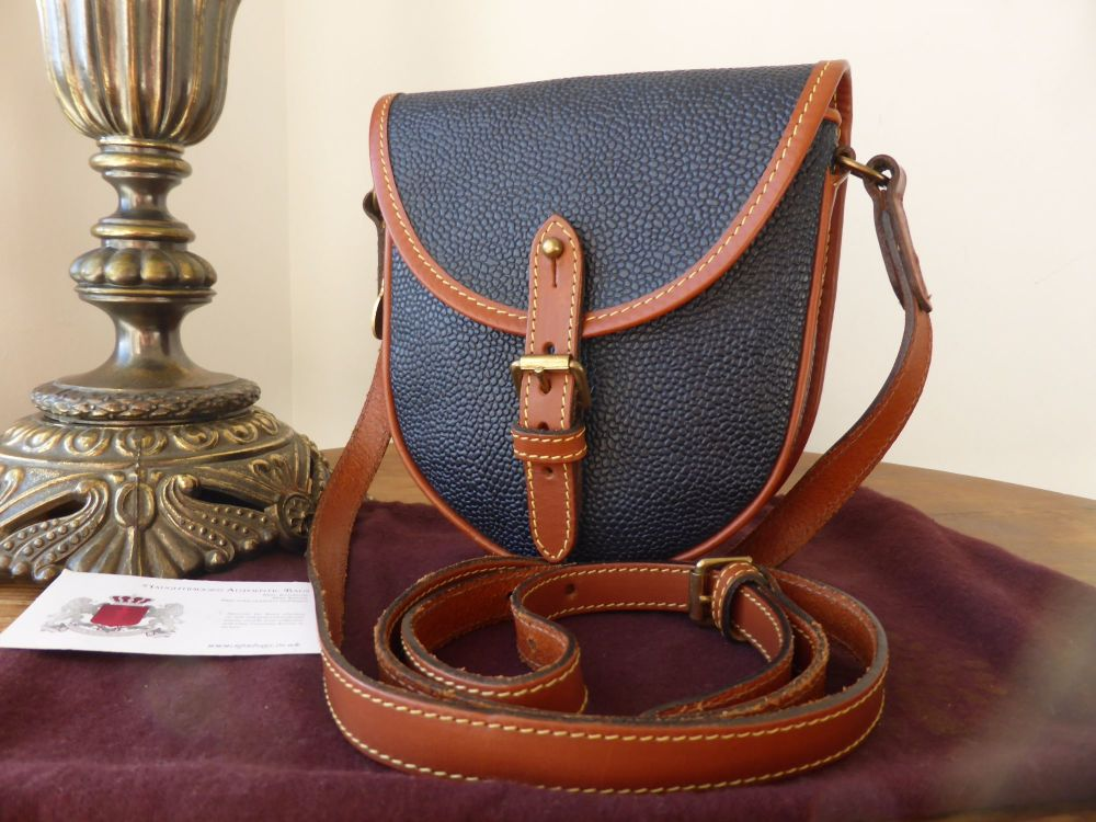 Mulberry Vintage Small Saddle Messenger Bag in Navy Scotchgrain