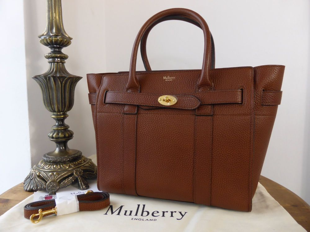 Mulberry Small Zipped Bayswater in Oak Natural Grain Leather As New