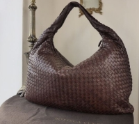Bottega Veneta Maxi Hobo in Ebano Textured Intrecciato Lambskin
