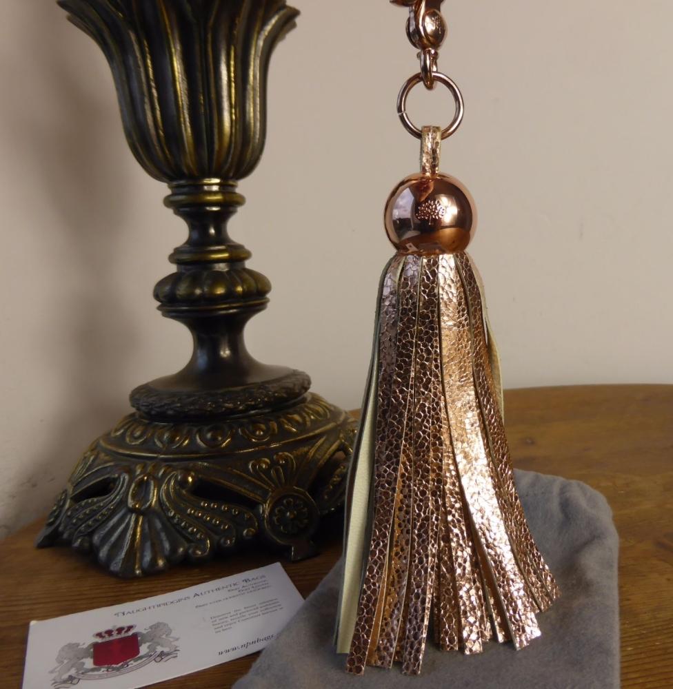 Mulberry Greta Tassle Keyring / Bag Charm in Rose Gold Metallic Crackle