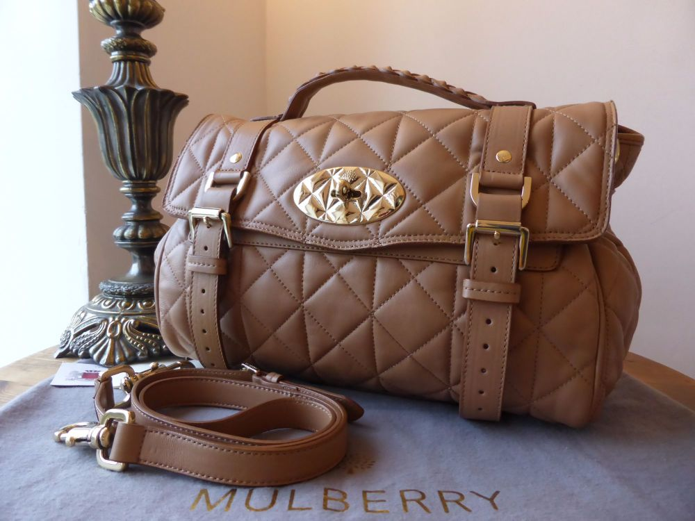 Mulberry Regular Alexa in Deer Brown Quilted Nappa with Feature Postmans Lo
