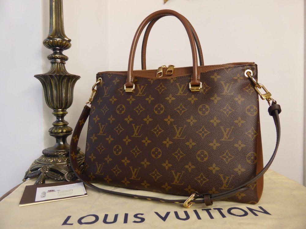 Louis Vuitton Pallas MM Tote in Monogram and Noisette Taurillion