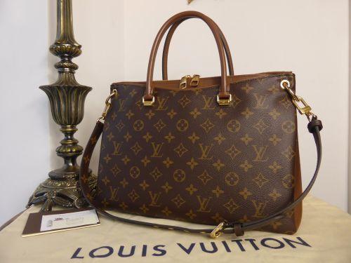 9685c8f9ca70 Louis Vuitton Pallas MM Tote in Monogram and Noisette Taurillion ...