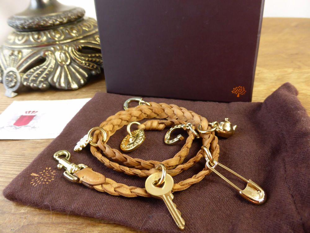 Mulberry Braided Wrap Charm Bracelet in Oak Saddle Leather