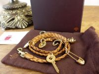 Mulberry Braided Wrap Charm Bracelet in Oak Saddle Leather