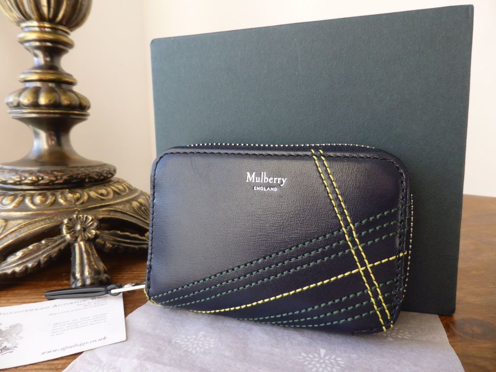 Mulberry Multi Card Zip Around Purse in Navy Cross Boarded Calf - New*