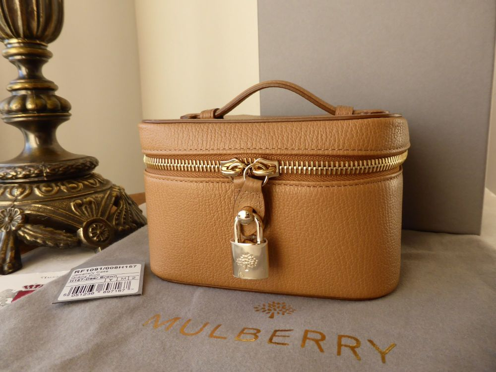 Mulberry Zip Around Jewellery Box in Deer Brown Grainy Leather - New