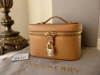 Mulberry Zip Around Jewellery Case in Deer Brown Grainy Leather - New