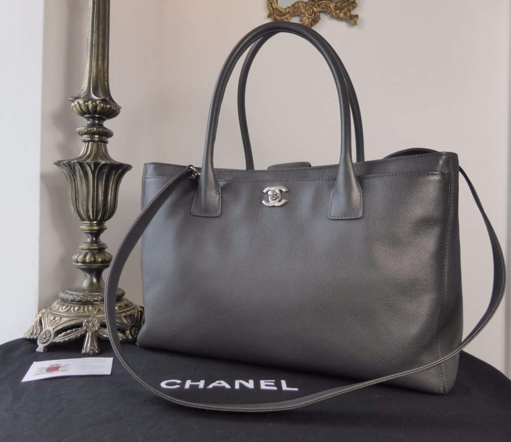 e1a3838a0b31 Chanel Cerf Executive Tote in Charcoal Grey Calfskin with Silver ...