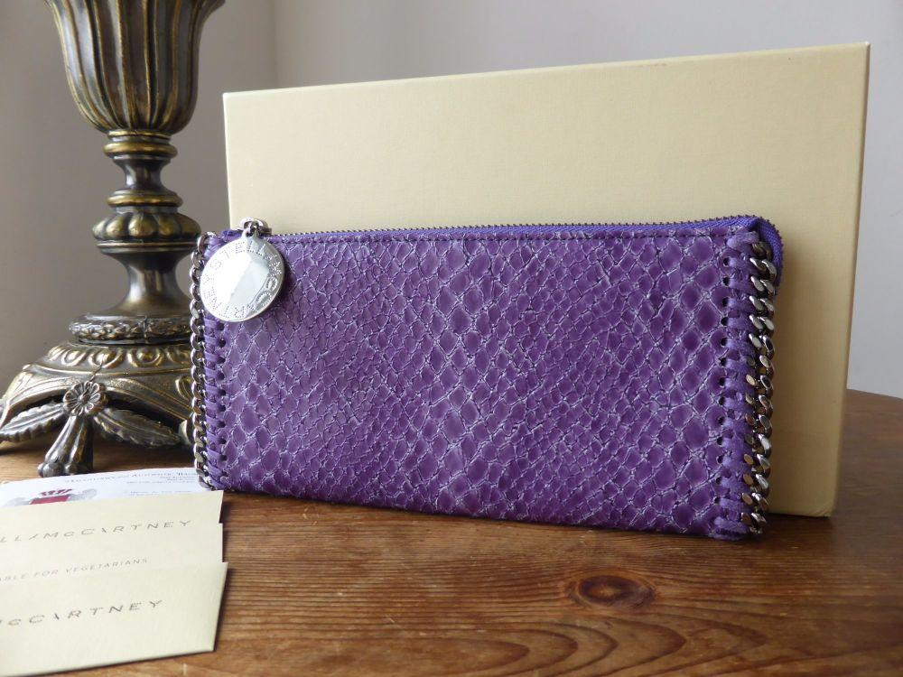 Stella McCartney Falabella Zip Clutch Wallet in Purple Lizard Printed Faux