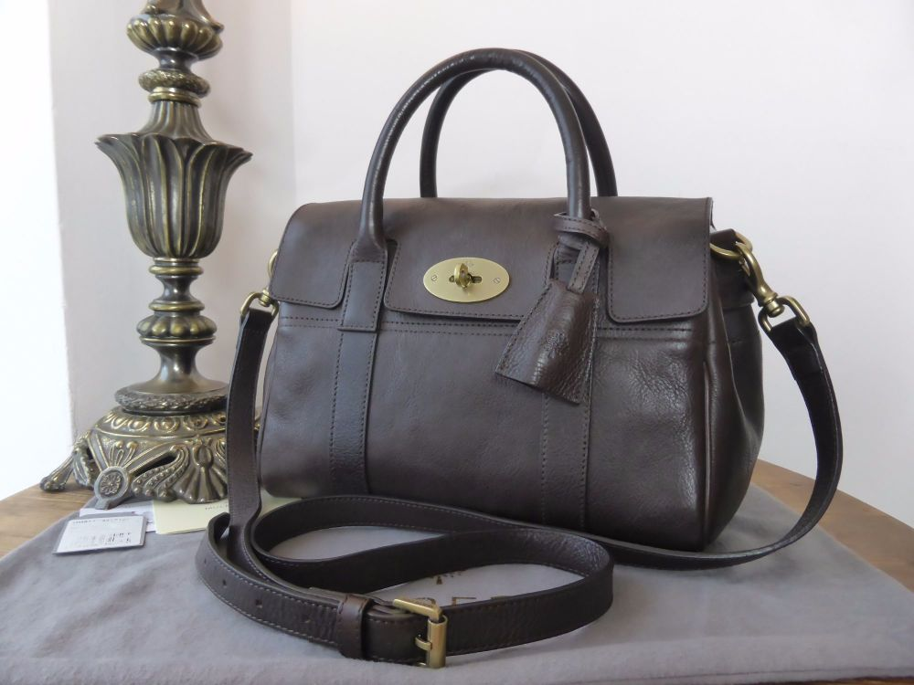 Mulberry Classic Heritage Small Bayswater Satchel in Chocolate Natural Leat