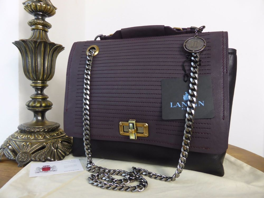 Lanvin Happy Bag Medium in Violet and Black Mouton - New