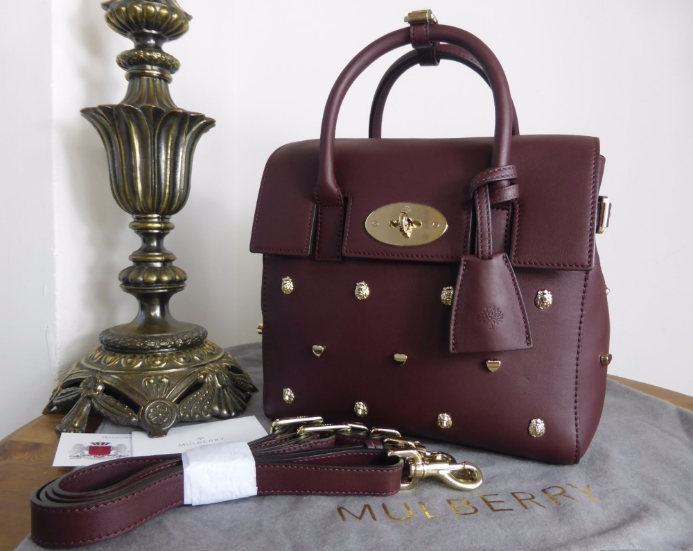Mulberry Mini Cara with Lion & Heart Rivets in Oxblood Silky Classic Calf L