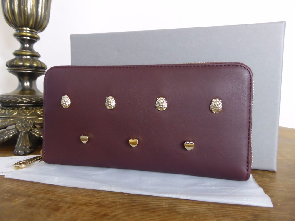 Mulberry Cara 'Lion & Heart Rivets' Zip Around Continental Purse in Oxblood