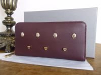 Mulberry Cara 'Lion & Heart Rivets' Zip Around Continental Purse in Oxblood Silky Calf