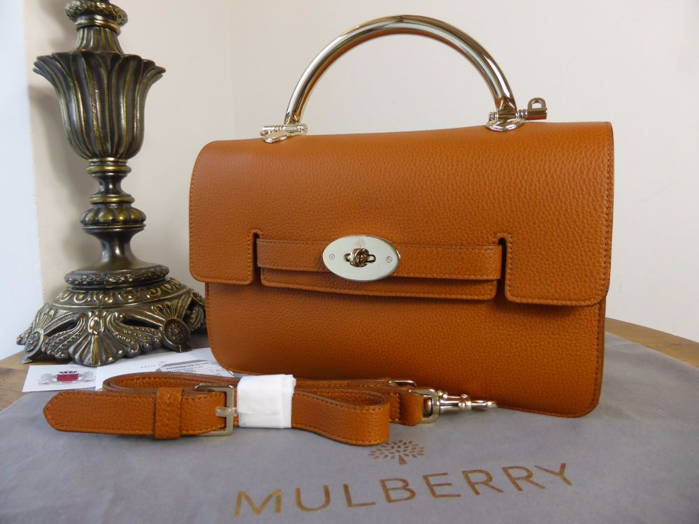 Mulberry Bayswater Shoulder Bag with Handle in Ginger Grainy Calf Leather -