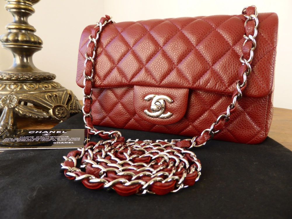 Chanel Mini Rectangular Flap in Burgundy Caviar with Silver Hardware