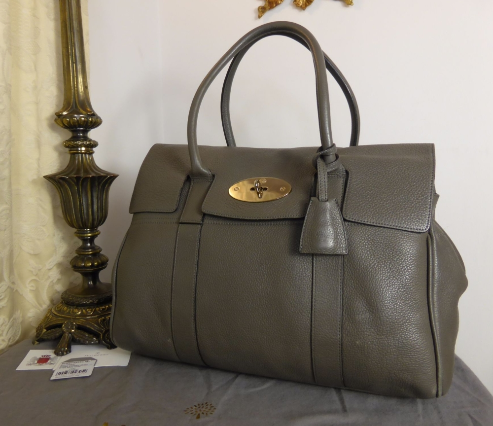 Mulberry Classic Heritage Bayswater in Mole Grey Small Classic Grain