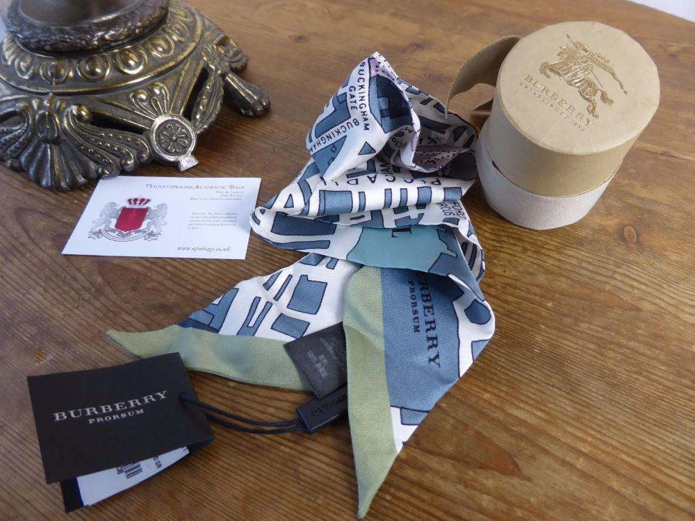 Burberry Prorsum London Map 100% Silk Twilly - New