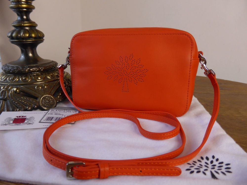 Mulberry Blossom Pochette with Wristlet, Cross Body Bag in Mandarin Calf Na