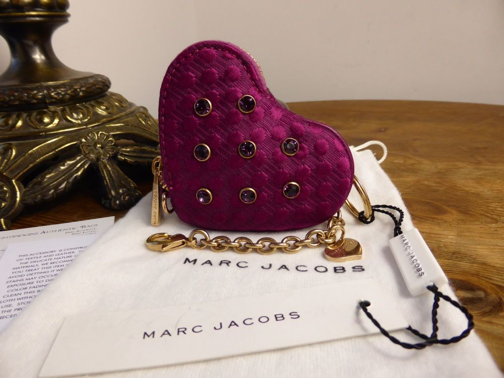 Marc Jacobs Heart Coin Purse Bag Charm in Jewelled Fuchsia Jacquard Silk Tw