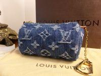 Louis Vuitton Mini Speedy Pochette in Blue Monogram Denim - As New
