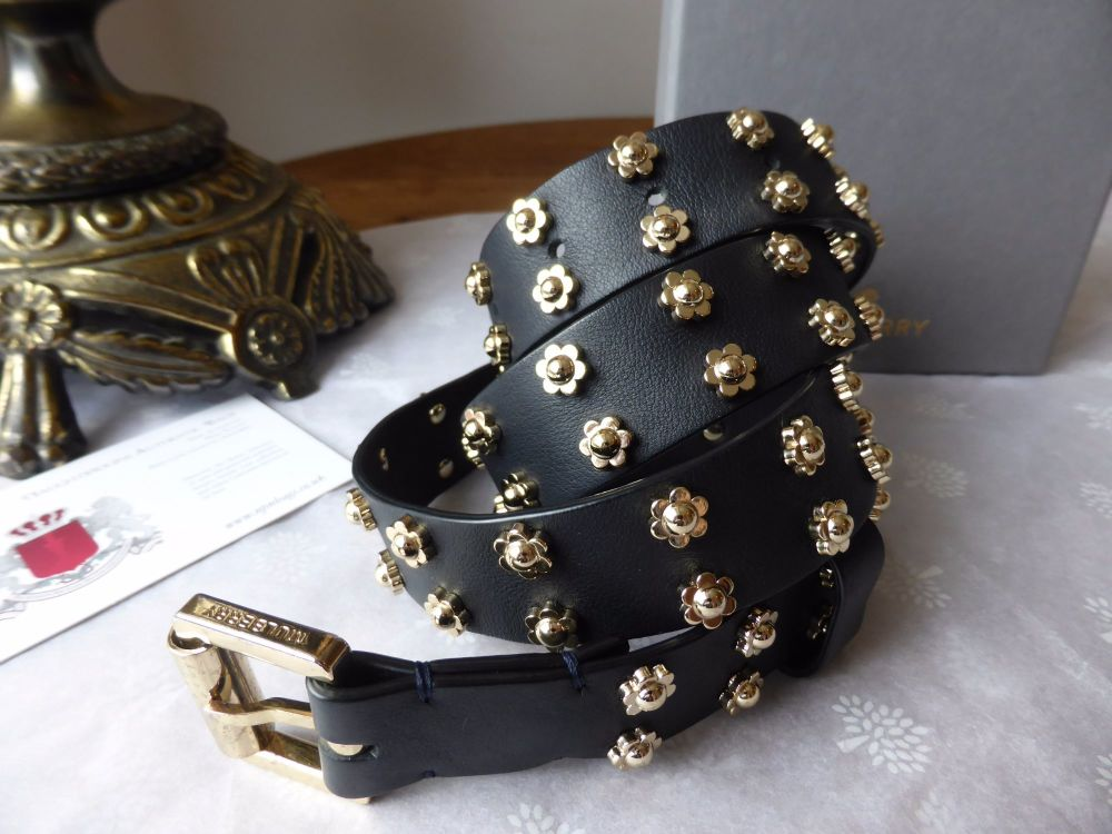 Mulberry Flower Rivets Belt in Black Classic Calf
