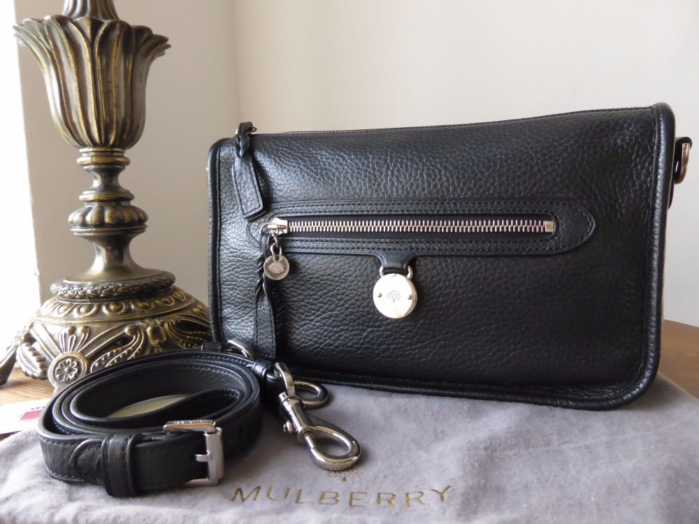 Mulberry Somerset Small Satchel Shoulder Messenger in Black Pebbled Leather