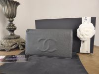 Chanel Yen Continental Purse Wallet in Charcoal Grey Caviar Leather