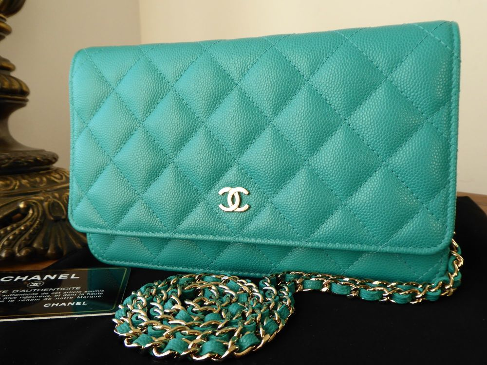Chanel Wallet on Chain in Turquoise Aqua Caviar Leather with Pale Gold Hard