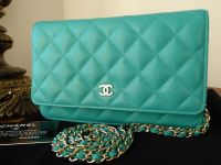 Chanel Wallet on Chain in Turquoise Aqua Caviar Leather with Pale Gold Hardware