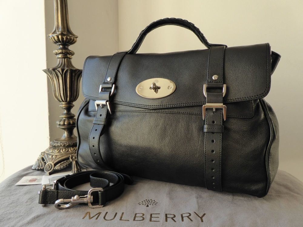Mulberry Oversized Alexa Black Polished Buffalo Leather Silver Nickel Hardw