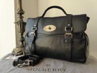Mulberry Oversized Alexa Black Polished Buffalo Leather Silver Nickel Hardware