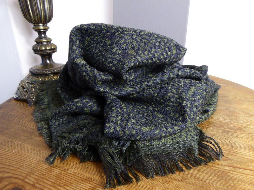 Mulberry Tree Virgin Wool Scarf in Slate & Evergreen - New