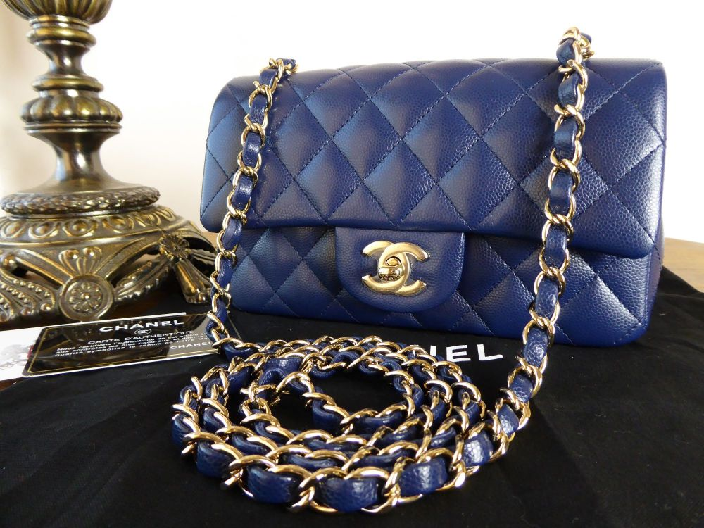Chanel Mini Rectangular Flap in Navy Caviar with Gold Hardware - New