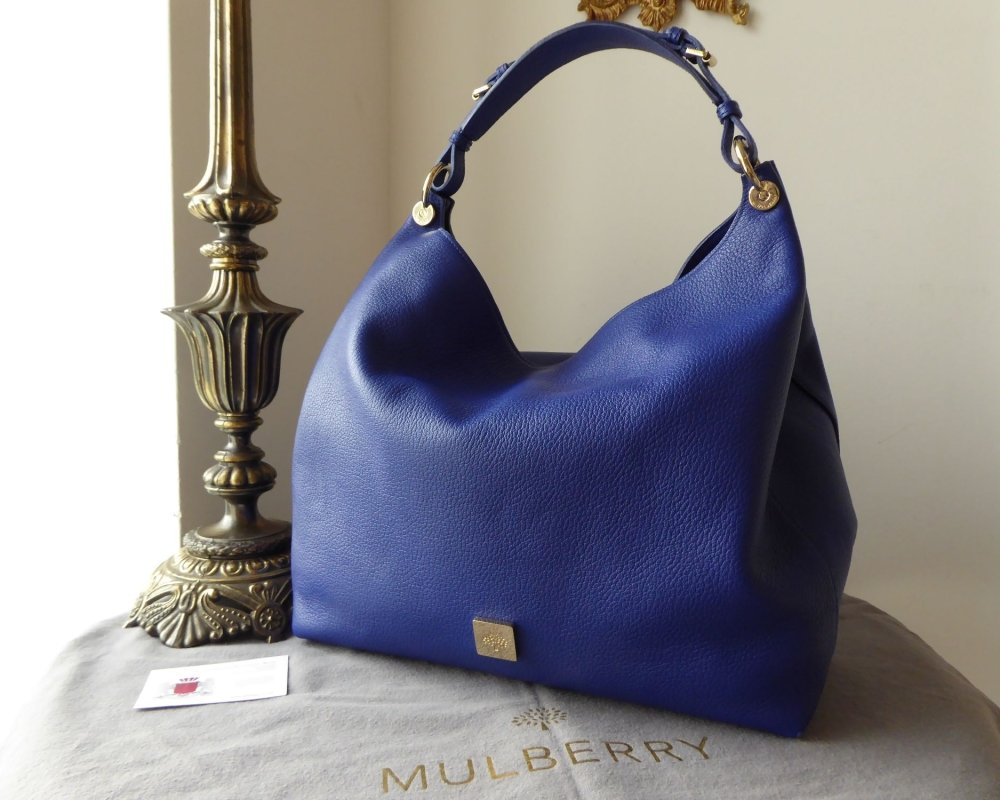 Mulberry Large Freya Hobo in Neon Blue Small Classic Grain