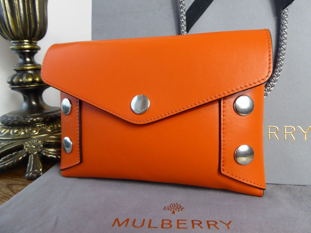 Mulberry Studded Envelope Clutch Pouch in Orange Smooth Calf - As New