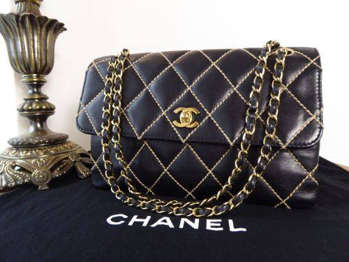 Chanel Surpique Quilted Wild Stitch Black Calfskin Medium Flap Bag with Gol 2ff8184e30c3f