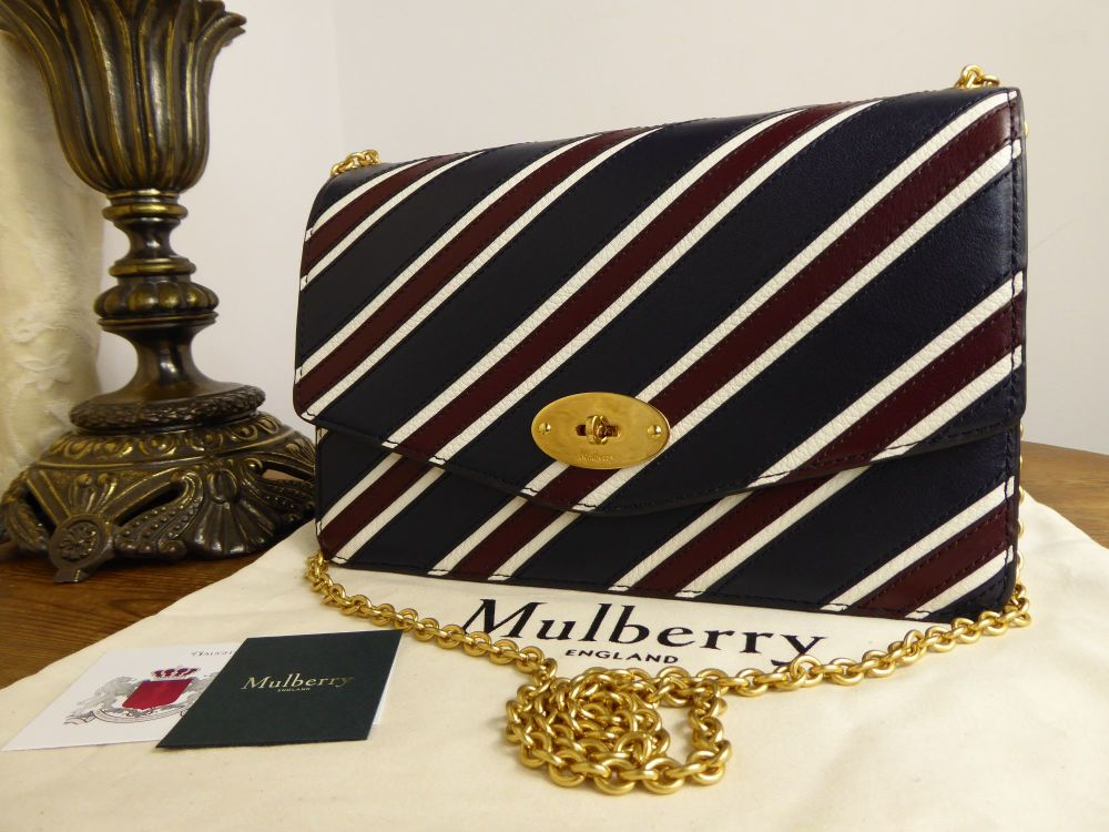Mulberry College Stripe Large Darley in Midnight, Burgundy and White Smooth