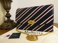 Mulberry College Stripe Darley in Midnight, Burgundy and White Smooth Calf and Lamb - As New
