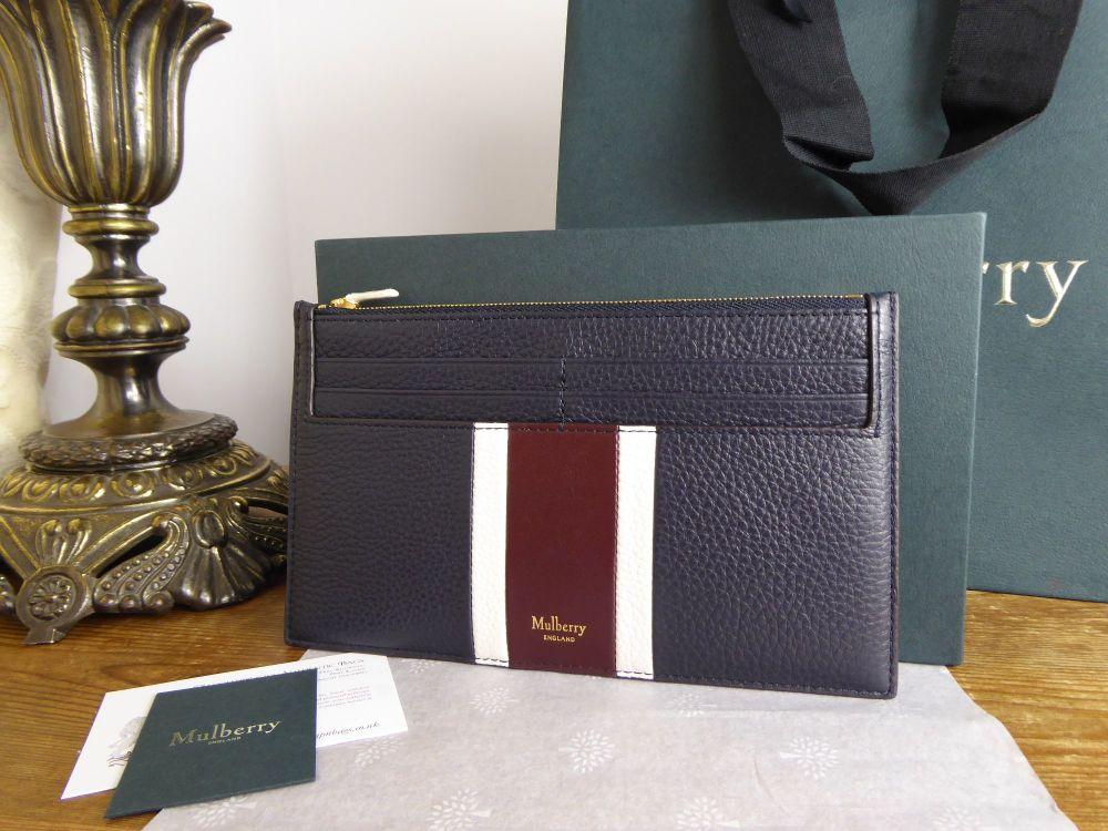 Mulberry College Stripe Travel Card Holder in Midnight, White & Burgundy Sm