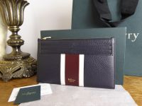 Mulberry College Stripe Travel Card Holder in Midnight, White & Burgundy Small Classic Grain - New