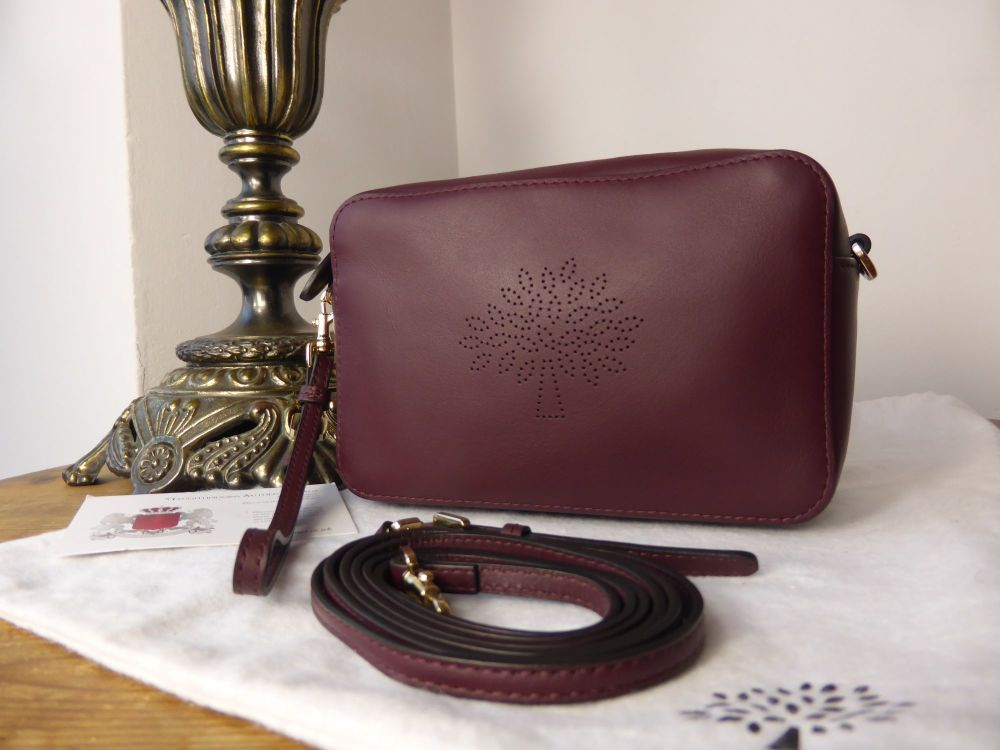 Mulberry Blossom Pochette with Wristlet, Cross Body Bag in Oxblood Calf Nap