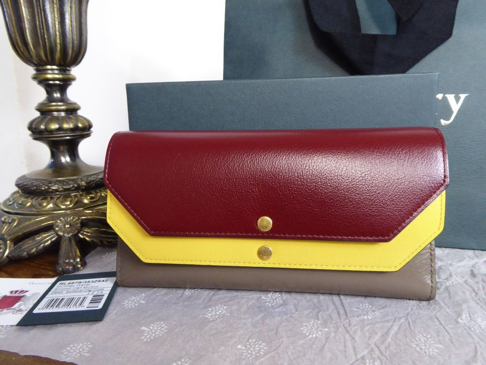 Mulberry Multiflap Continental Wallet in Sunflower, Clay & Crimson Smooth C