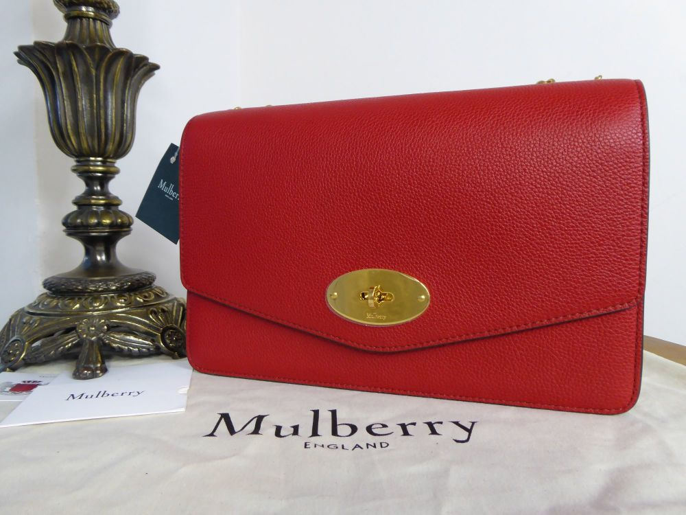 Mulberry Large Darley in Scarlet Red Small Classic Grain Leather - New